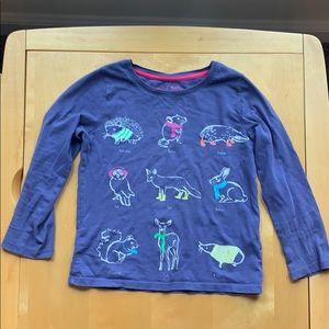 Mini Boden Girls Purple Animal Long-Sleeved Shirt